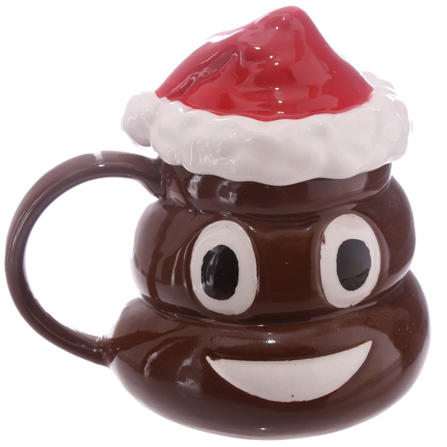 1piece christmas poop mug with lid emoji mugs emoticon smiley coffee mug coffee makes me poop