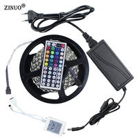 ZINUO DC12V 5M 120Leds/m RGB 5050 SMD Led Strip 600leds Non Waterproof +44 Key IR Remote Controller + DC 12V 10A Power Adapter