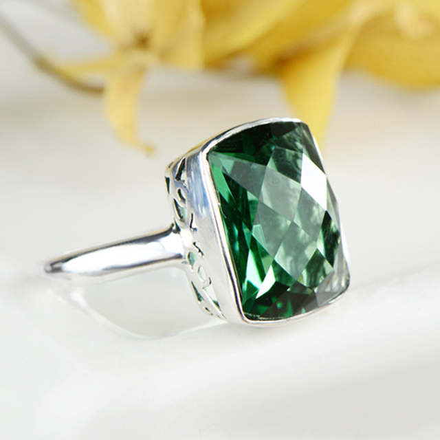 GQTORCH Natural Green Crystal Square Emerald Rings For Women 925 Sterling Silver