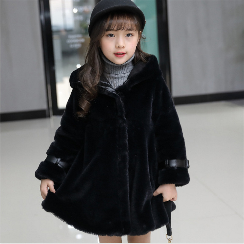 2017 Winter Girls Faux Fur Coat Fashion Casual Hooded Solid Warm Jacket For Girl 110-150 Black Pink Purple faux fur coat
