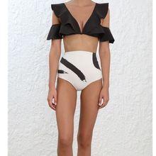 boussac Female Swimwear Woman Beach Painted Heart Flutter Crop Top Bathing Suit