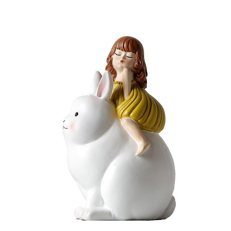 Детская комната украшения домашнего интерьера лунный кролик Окрашенные мультфильм скульптура мебелью showroom мягкая отделка