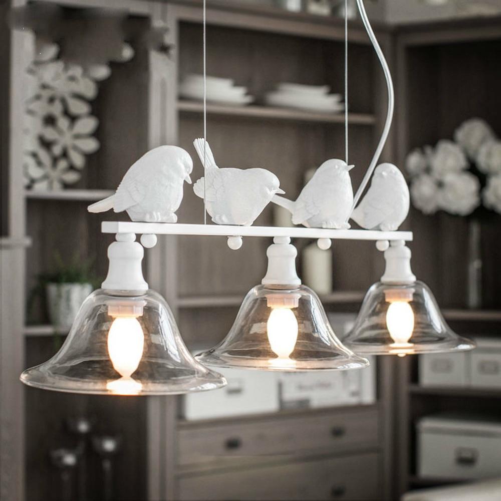 Simple Creative Chandelier Living Room Restaurant Lighting Led Chandelier Modern Three-headed Glass Bird Lighting LM5081351py
