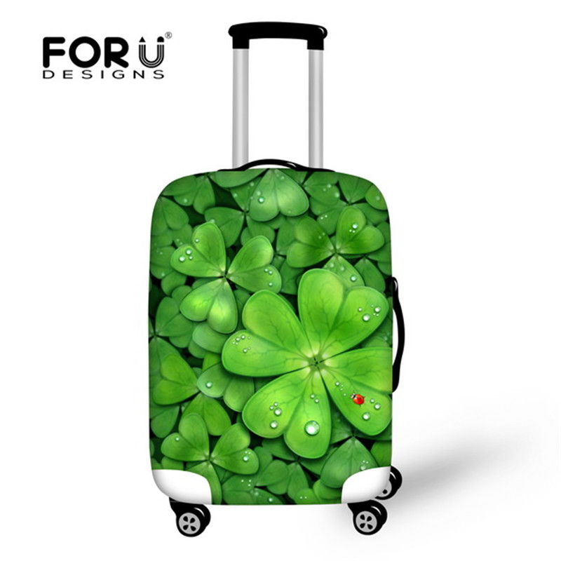 FORUDESIGNS Green Leaf Print 3D Elastic Luggage Covers With Ziper For 18 20 22 24 26 28 Inch Trunk Case Travel Suitcase Covers