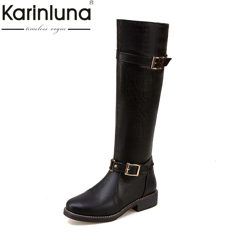 KARINLUNA 2017 large size 34-44 platform black beige buckles women shoe woman square med heel riding boots winter casual bottine bar iii new black beige chevron striped women s size large l knit top $39