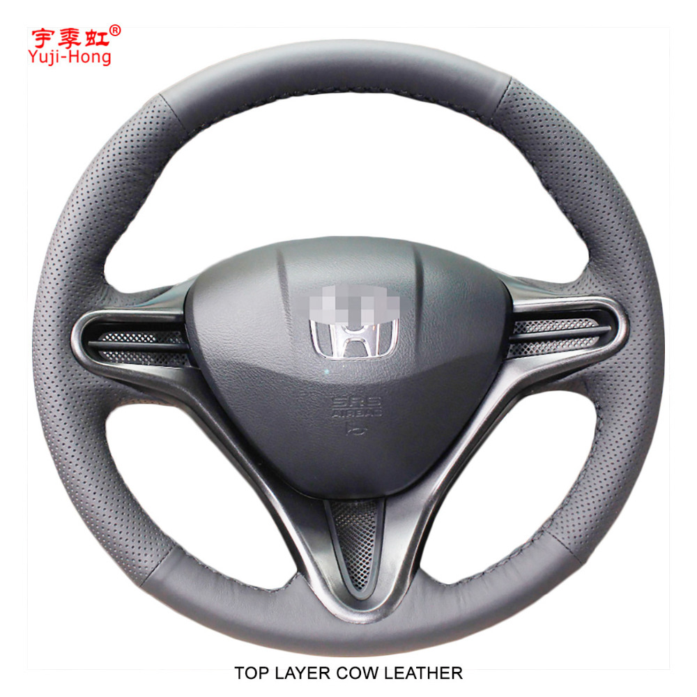 Yuji-Hong Top Layer Genuine Cow Leather Car Steering Wheel Covers Case for HONDA Civic 8 2007-2011 Auto Steering Cover BlackYuji-Hong Top Layer Genuine Cow Leather Car Steering Wheel Covers Case for HONDA Civic 8 2007-2011 Auto Steering Cover Black