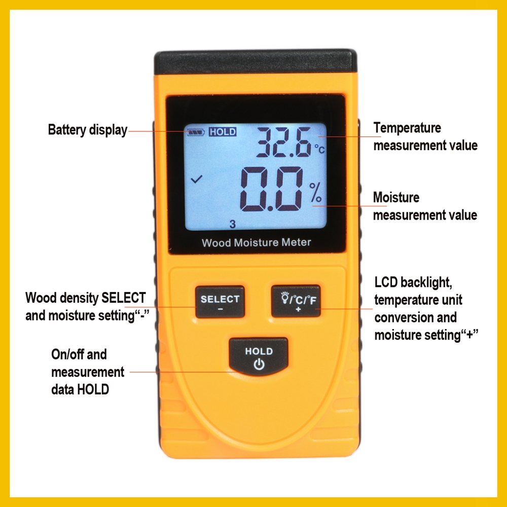 RZ EMT01 Inductive Wood Moisture Meter with Data Hold Function and Backlight LCD Display 3