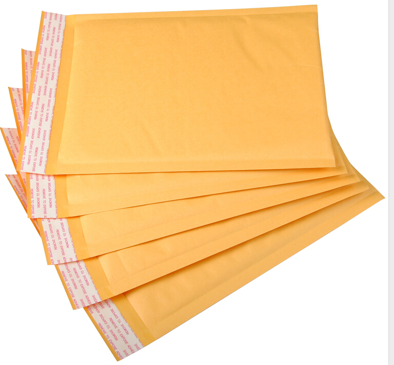 50pcs/lot Kraft Bubble Mailers Padded Bubble Envelopes Paper Bags Envelope Yellow Mailing Bag Free Shipping