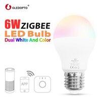GLEDOPTO LED 6W RGB+CCT led bulb Zigbee zll zigbee3.0 bulb e26e27 AC100 240V WW/CW rgb led bulb dimmable smart bulb dual white