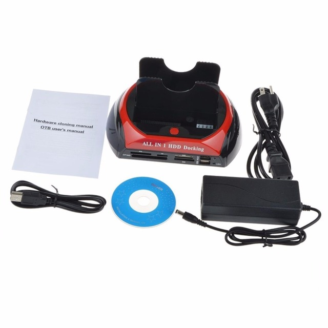 Многофункциональный HDD Док-Станция Dual USB 2.0 2.5/3.5 Дюймов IDE SATA Внешняя Коробка HDD Жесткий Диск Корпус Карты читатель