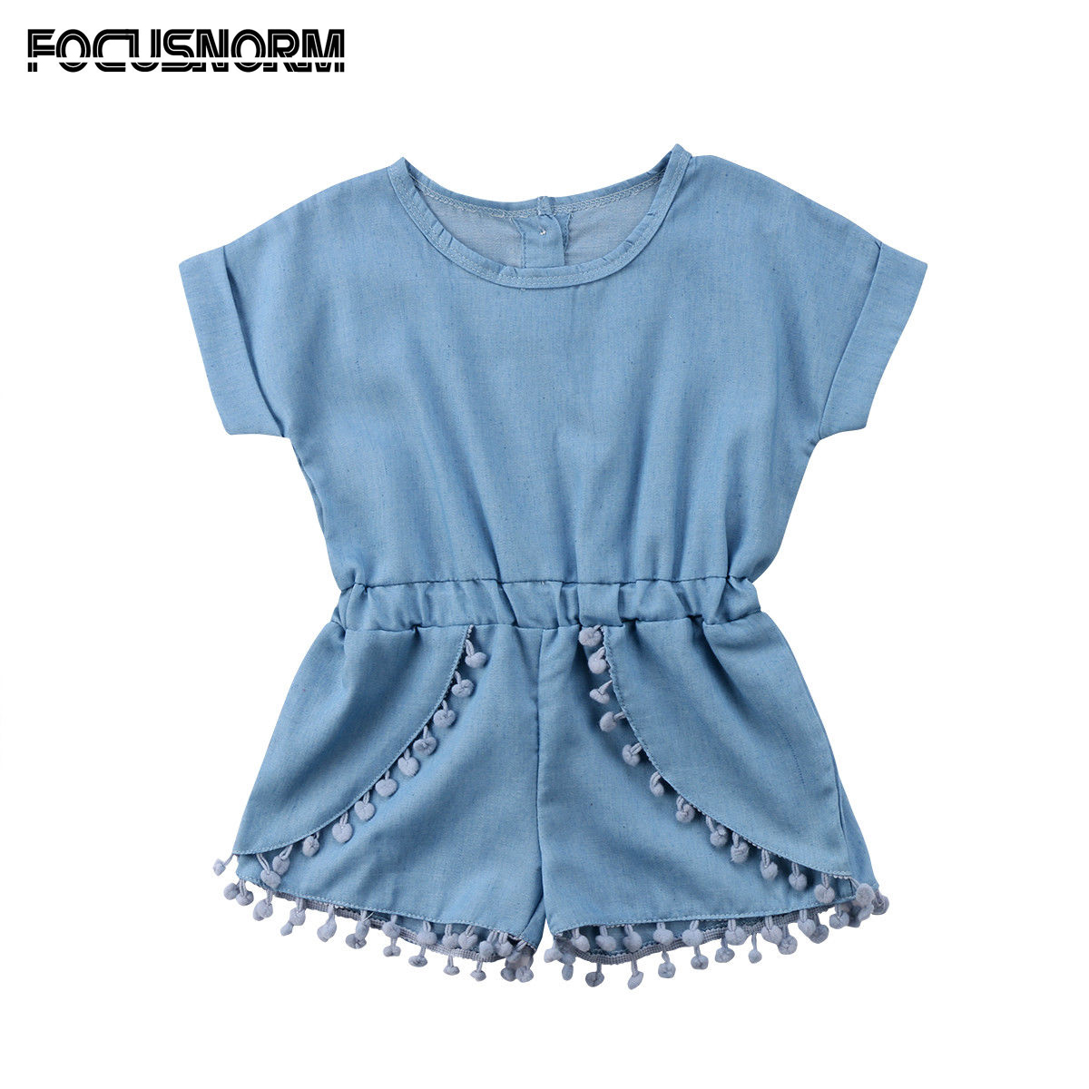 Cute Toddler Baby Girls Denim Tassel Short Sleeves Romper One Piece Jumpsuit Playsuit Cotton Clothes puseky 2017 infant romper baby boys girls jumpsuit newborn bebe clothing hooded toddler baby clothes cute panda romper costumes