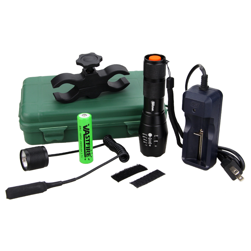 Купить с кэшбэком Tactical 5000 Lumens Q5 LED FleshLight Adjustable Focus Flashlight Torch +Rifle Scope Mount+18650+Charger+Remote Pressure Switch