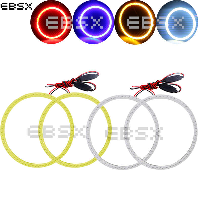 EBSX 1 pair Car Halo Ring COB 60MM 70MM 80MM 90MM 100MM 110MM 120MM Angel Eyes 12V/24V DC White Red Blue Yellow Car Day Light