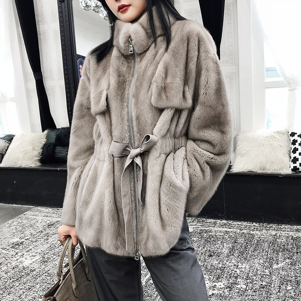 Real Mink Fur Women Short Slim Coat With Mandarin Collar Long Sleeves Winter  Warm Thick  Whole Mink Fur Thick Jacket