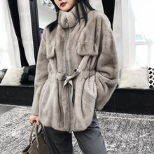 Real Mink Fur Women Short Slim Coat with Mandarin Collar Long sleeves Winter Warm Thick Whole Mink Fur Thick Jacket(China)