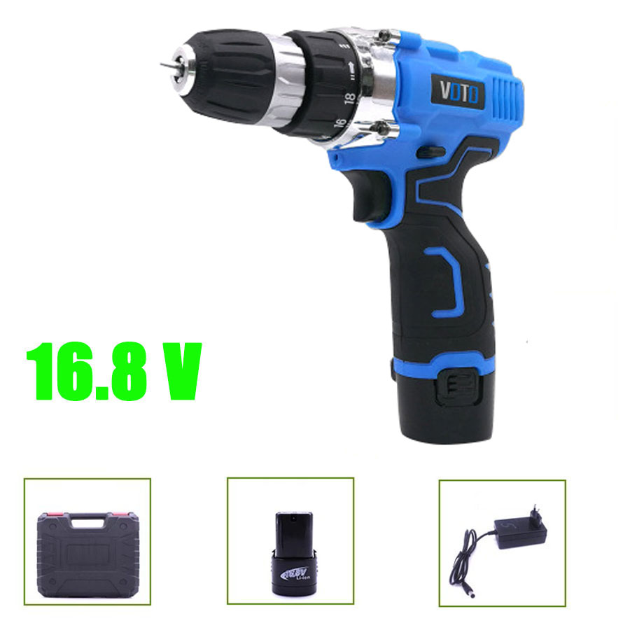 VOTO V6 Battery Rechargeable Cordless Drill Electric Screwdriver Set Lithium Power Tools Screw Gun Driver 16.8V Blue With Case