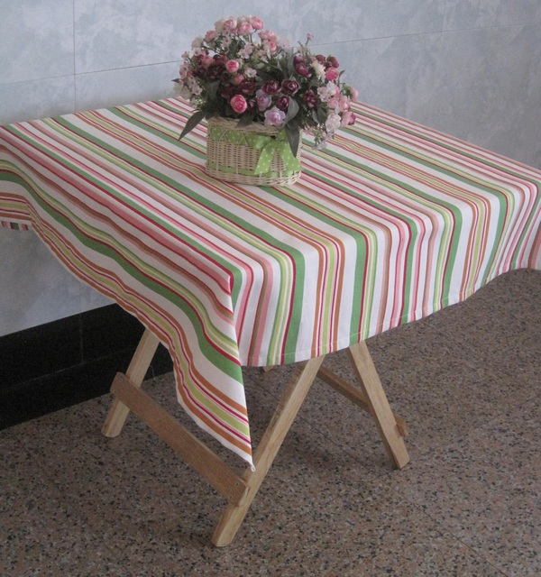 Pastoral Style Of Sakura Canvas Table Cloth Pink And Green Striped Cotton Table  Cloth Many Sizes In Tablecloths From Home U0026 Garden On Aliexpress.com ...