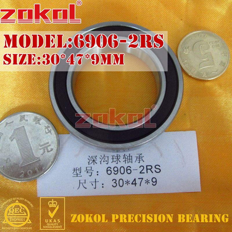 ZOKOL 6906RS bearing 6906 2RS ZZ Z1 6906ZZ 6906z 6906-2RS Deep Groove ball bearing 30*47*9mmZOKOL 6906RS bearing 6906 2RS ZZ Z1 6906ZZ 6906z 6906-2RS Deep Groove ball bearing 30*47*9mm