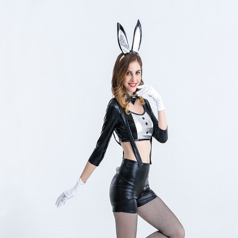 Free shipping sexy Black rabbit girl lacquer skin cute rabbit girl Cosplay bar DS Bunny girl suit performance clothes in Holidays Costumes from Novelty Special Use