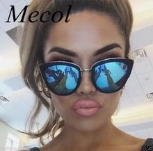 Mecol Retro Sexy Cat Eye Women Sunglasses Female Metal Frame Sunglasses Brand Designer Alloy Legs Glasses Oculos De Sol 711M