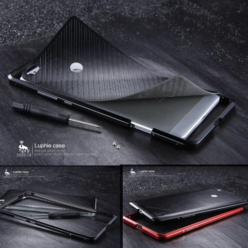 bilder für Für Xiaomi Mi Max Fall Abdeckung LUPHIE Aluminium Schraube Metallrahmen für Xiaomi Mi Max Zurück Abdeckungsfall (6,44 zoll) mit Leder Aufkleber