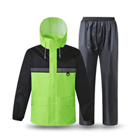 Oferta Impermeable reflectante pantalones de lluvia traje impermeable hombres mujeres lluvia chaqueta pesca construcción seguridad fluorescente traje