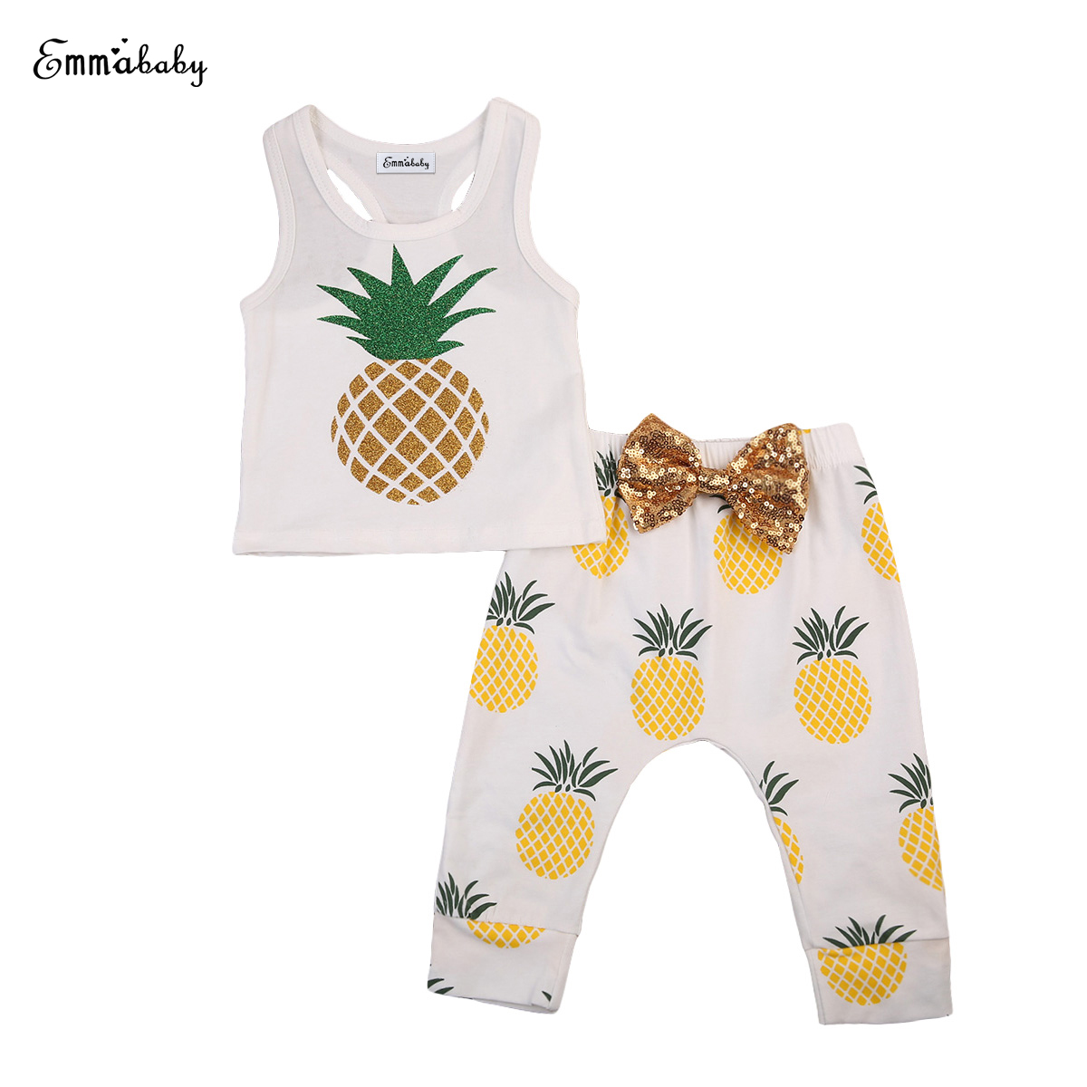 2018 New cute Newborn Infant Baby Boy Girl Kids Cotton sleeveless pineapple print T-shirt+bowknot Pants Sunsuit Clothes Outfit