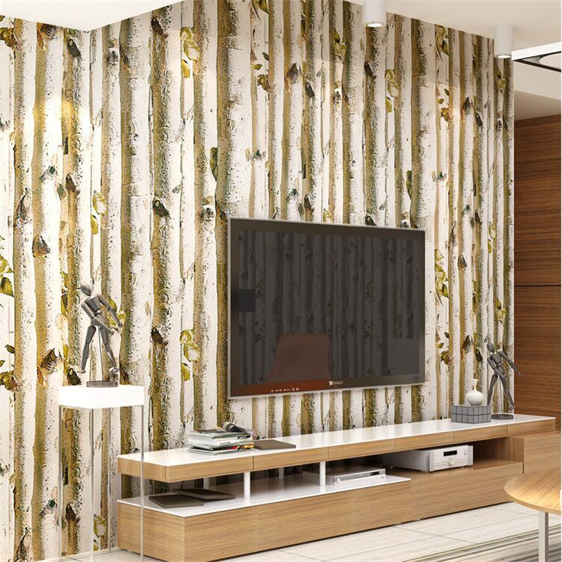 beibehang Modern abstract minimalist birch forest living room wall paper simulation wood tree woods non-woven wallpaper beibehang non woven pink love printed wallpaper roll striped design wall paper for kid room girls minimalist home decoration