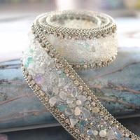 1 pièces de haute qualité perle perlée dentelle garniture robe de mariée vêtements accessoires décoratifs repasser sur les vêtements ou coudre sur 2.5cm de largeur