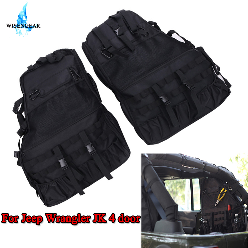 WISENGEAR 2PCS Multi Pockets Storage Organizers Cargo Bag Saddlebag Luggage Tool Bag Gadget Holder For Jeep Wrangler JK 4 door /