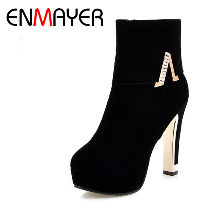 ENMAYER Fashion Shoes High Heels Round Toe Platform Winter Boots  Woman Ankle Boots for Women Motorcycle Boots Large Size 34-43 enmayla ankle boots for women low heels autumn and winter boots shoes woman large size 34 43 round toe motorcycle boots