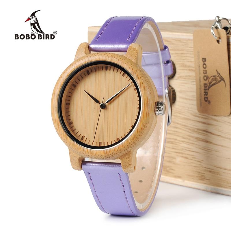 BOBO BIRD WJ07 Bamboo Watch Simple Genuine Purple PU Leather Band Quartz Watch Gril Women Gift