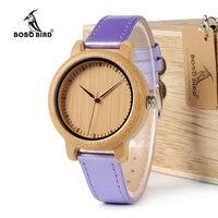 BOBO BIRD J07 Bamboo Watch Simple Genuine Bule PU Leather Band Quartz Watches Gril Women S