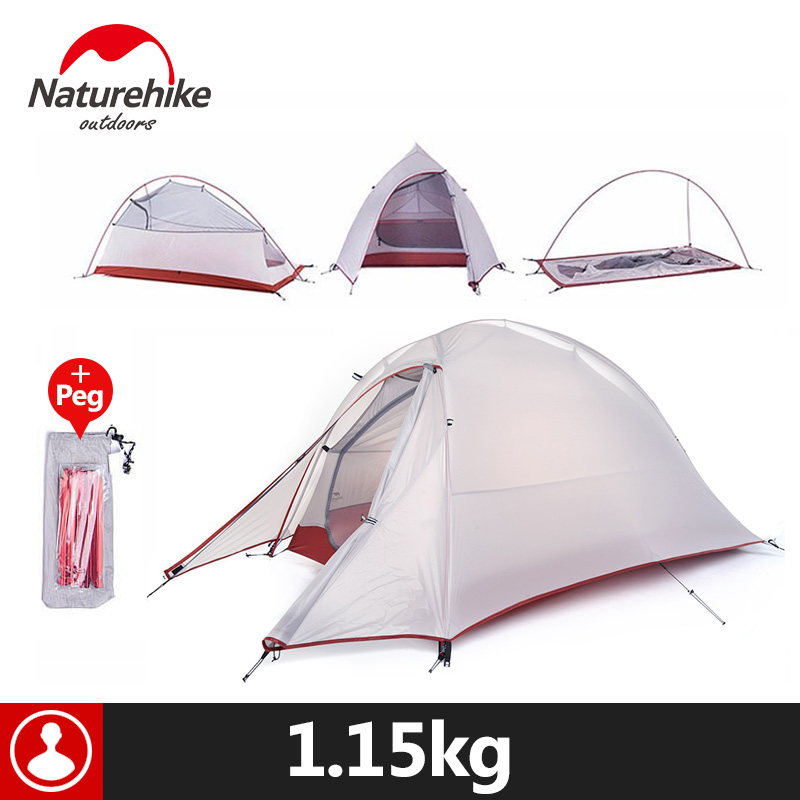 Naturehike Outdoor Camping Tent For 1 PersonUltralight 20D Silicone Fabric Double layer Rainproof 210T Plaid Fabric Beach Tent high quality outdoor 2 person camping tent double layer aluminum rod ultralight tent with snow skirt oneroad windsnow 2 plus