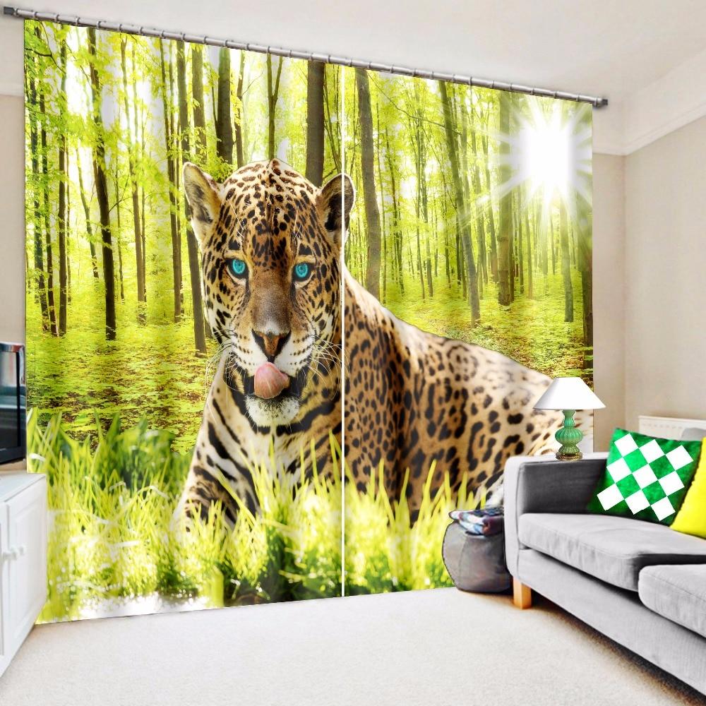 3D Black Leopard Blue Eyes Print Custom Curtain Fabric Digital Printing 3d Curtains Living Room Drapes Hotel Cortinas De Sala In From Home Garden