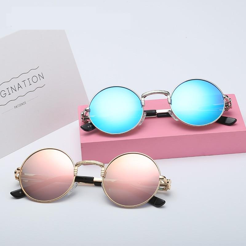 8159c088204e2e Acheter 2019 Mode Ronde lunettes de Soleil Hommes Femmes Marque Designer  Vintage Steampunk Polarisées Lunettes de