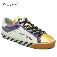 CANGMA Brand Italy Casual Women Shoes Autumn White Gold Genuine Leather Sneakers Flats Woman Shoes Big Size Calzado Mujer