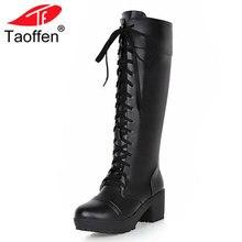 Taoffen/плюс Размеры 33-48 Для женщин на платформе черная обувь Для женщин на шнуровке обувь на высоких квадратных каблуках Ботинки до колена теплые сапоги с мехом внутри