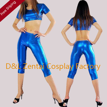 Free Shipping DHL Sexy Blue Short Sleeve Shiny Metallic Halloween Costume Zentai Suit For Women SHS104