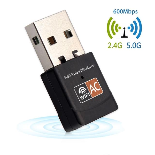 USB WiFi адаптер сетевой карты Ethernet антенны приемника 600 Мбит/с USB Беспроводной адаптер AC Dual Band 2,4 + 5,8 ГГц для портативных ПК