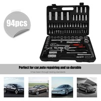 OUTAD 94Pcs/Set Socket Ratchet Wrench Screwdriver Bits Multi Hand Combo Tools Auto Vehicles Repair Repairing Tool Kit with Case