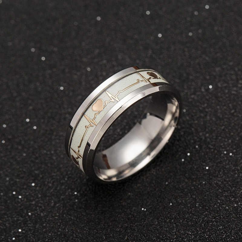 Световой кольцо ecg Кольца из нержавейки обещание кольцо «сердцебиение» светящиеся украшения для Для мужчин Для женщин