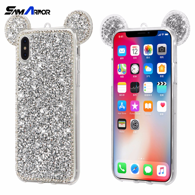 huge selection of 9ee2f 66403 US $3.18 |3D Fashion Luxury Diamond Minnie Mickey Mouse Ears Case for  iPhone X 6 6S 7 8 Plus Bling Glitter Cover Phone Bags Coque Soft TPU-in ...