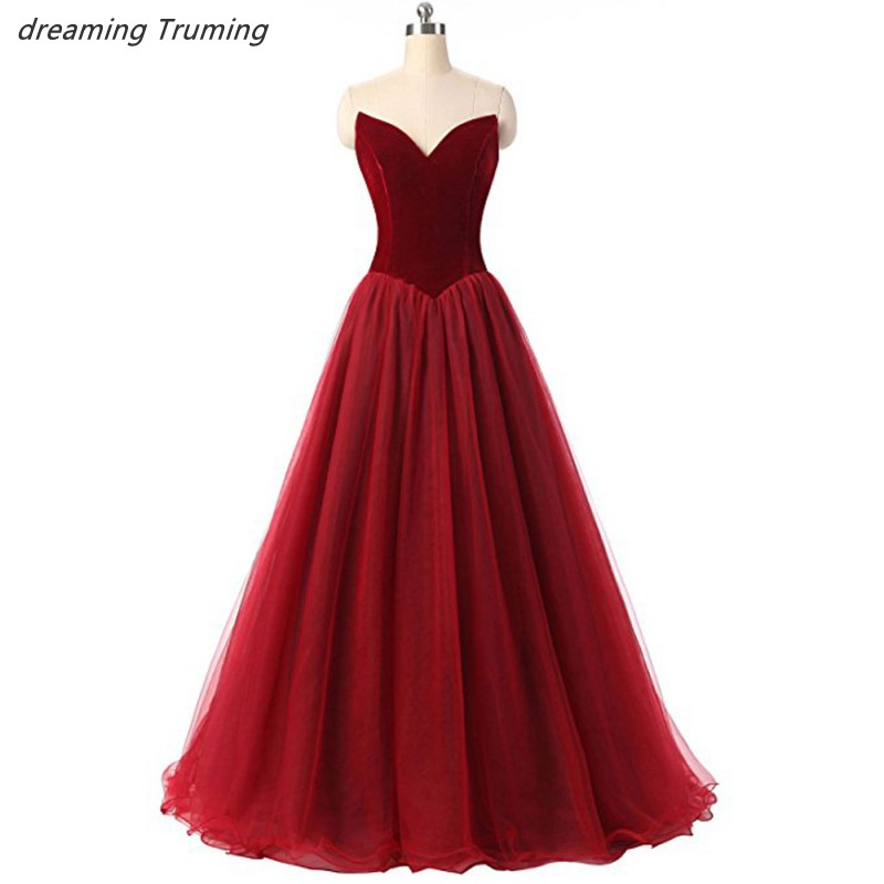 Unique Burgundy   Prom     Dresses   2019 Custom Made Sweetheart Sleeveless Women Flattered Fitted Wine Red Velvet Evening Party Gowns