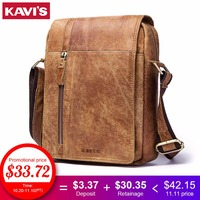 KAVIS HOT!! 2018 Genuine Leather Messenger Bags Men High Quality Bags Small Travel Brand Design Crossbody Shoulder Bag For Men