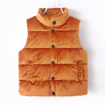 FTLZZ Girls With Velvet Vest Jacket Sleeveless Button Closure Coats Pockets Winter Warm Kids Jacket Childrens Cotton Clothes