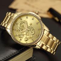 Luxury Gold Watch Mens Diamond Golden Carved Dragon Chinese Wristwatches Stainless Steel Quartz Waterproof Male Clock