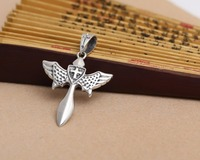 925 sterling silver cross angel wings cross heavy pendant fashion punk rock man D110
