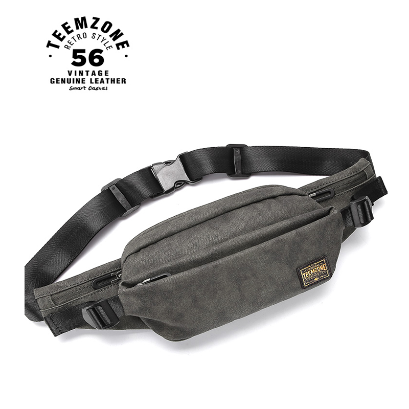 Man Canvas Crossbody Bags Mini Chest Bag Multi-Function Male Waist Bag Back Pack Leisure J50