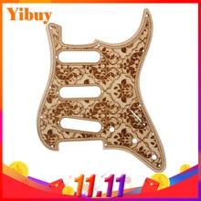 Фотография 28.2x22.5cm Wood Flower Pattern SSS Guitar Pickguard Replacement